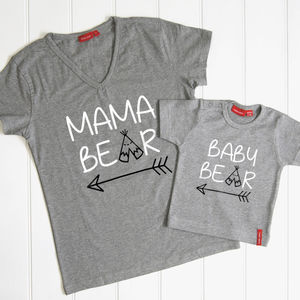 Personalised Mama Bear And Baby Bear T Shirt Set