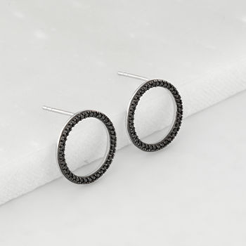 Silver And Black Nano Open Hoop Earrings