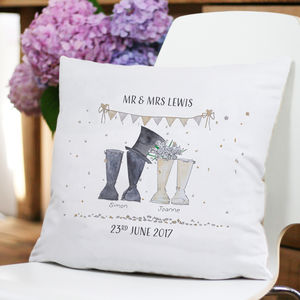Personalised Wedding Welly Boot Cushion - cushions