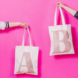 Rose Gold Glitter Initial Tote Bag - bags