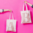 Rose Gold Glitter Initial Tote Bag