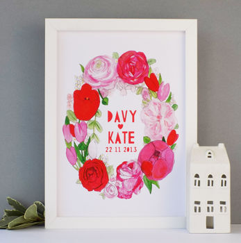 Personalised Valentines Wedding Flowers Papercut Print
