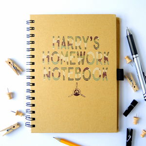 Personalised Homework Notebook Army Print - back to school essentials