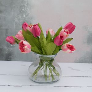 Everlasting Mixed Pink Tulip Bouquet In Vase - whatsnew