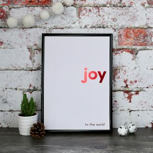 Christmas Joy Copper Foiled Typography Print