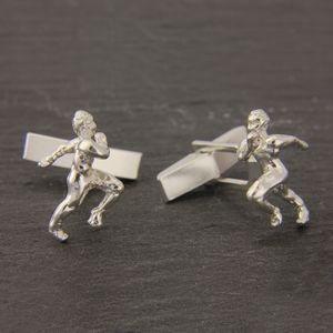 Athlete Cufflinks In Sterling Silver