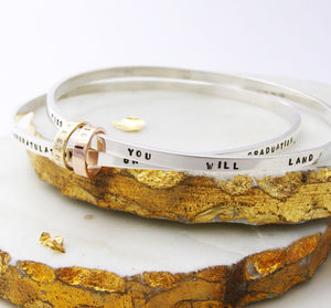 Personalised Silver And Gold Hoop Bangle - bracelets & bangles