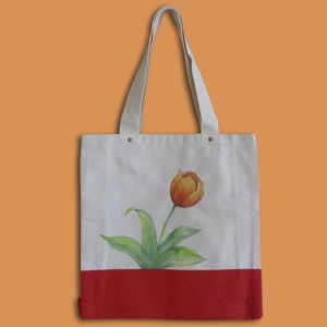 Handpainted Tulip On A Bag