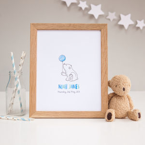 Baby Bear New Baby Boy Personalised Nursery Print