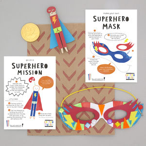 Superhero Party Bag With Mask And Peg Doll Kits - children's birthday