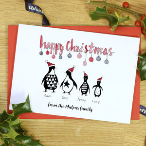 Personalised Mono Penguin Family Christmas Cards - cards