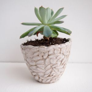 Handmade Circle Design Ceramic Planter - pots & planters