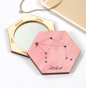 Personalised Horoscope Hexagon Compact Mirror - stocking fillers for her