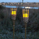 Pair Of Bamboo Tiki LED Candle Torches