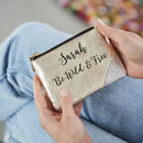 Personalised Leather Coin Purse With Swirling Message