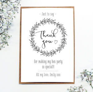Personalised Wreath 'Thank You' Postcards - wedding stationery