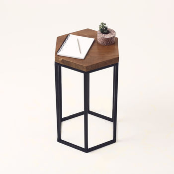 Hexagonal Wooden Side Table