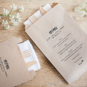 10 Personalised Menu Kraft Paper Bags