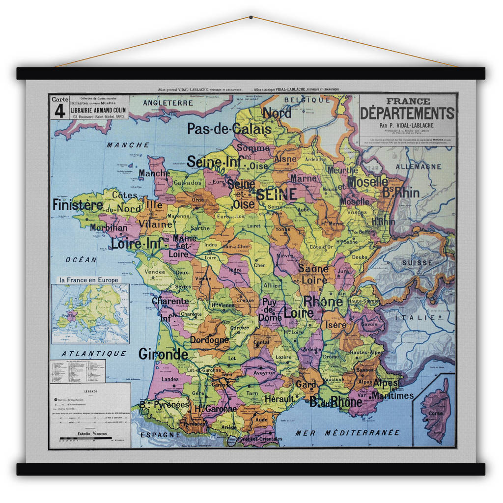Map Of France To Print.French Cotton Map Print Of France