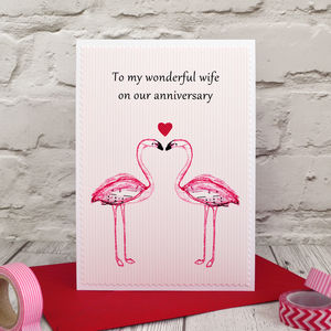 'Flamingos' Personalised Anniversary Card