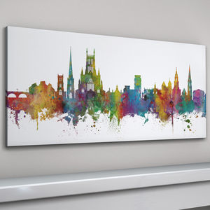 Worcester Skyline Cityscape Art Print - architecture & buildings
