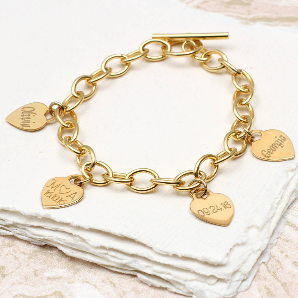 original gold heart ones bracelet hurleyburley by loved charm product personalised