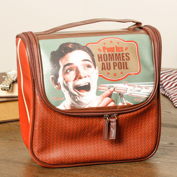 Personalised French Retro Style Men's Toiletry Bag