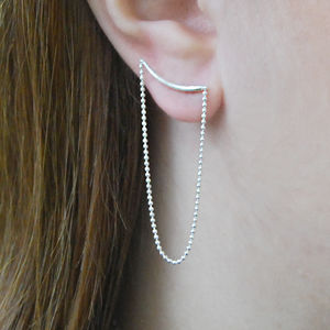 Silver Curved Bar Stud Earrings With Ball Chain