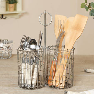 Industrial Wire Double Utensil Basket