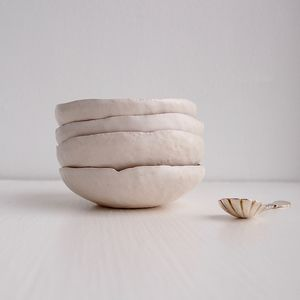Handmade White Ceramic Salt And Pepper/Spice/ Ring Dish