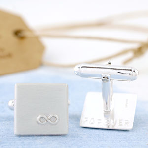 Personalised Silver Infinity Cufflinks - for him