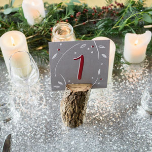 Winter Berry Wedding Table Numbers - table decorations