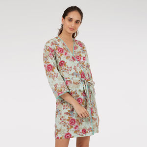 Short Cotton Robe In Blue Rose Floral