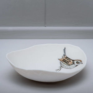 Wren Bird Illustrated Porcelain Storage Bowl - home accessories