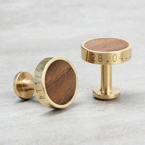 Personalised Brass And Walnut Wood Cufflinks - cufflinks