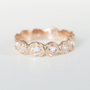 Rose Gold Diamond Wedding Ring Of Roses