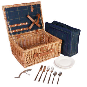Sapphire Tweed Luxury Two Person Picnic Hamper