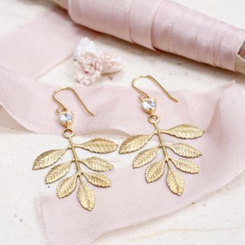 Hera Leaf Earrings With Crystal Heart Detail