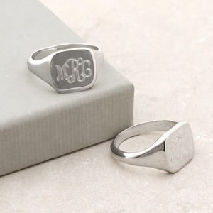 Mens Sterling Silver Monogram Square Signet Ring - rings