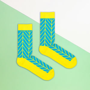 Blue And Yellow Zig Zag Sock - men's fashion