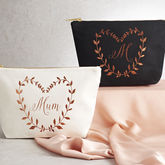 Personalised Metallic Leaf Design Make Up Bag - mum loves