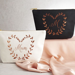 Personalised Metallic Leaf Design Make Up Bag - make-up & wash bags