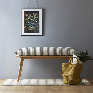Perky Plywood Bench With Ticking Cushion