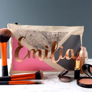 Personalised Geometric Marble Toiletry Bag - make-up & wash bags