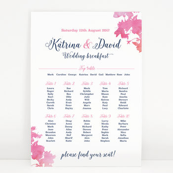 Pink Blossom Wedding Table Seating Plan
