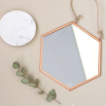 Small Geometric Copper Mirror