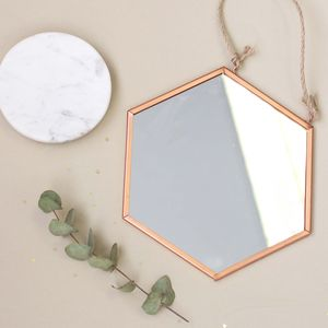 Hexagonal Copper Mirror With Rope - mirrors