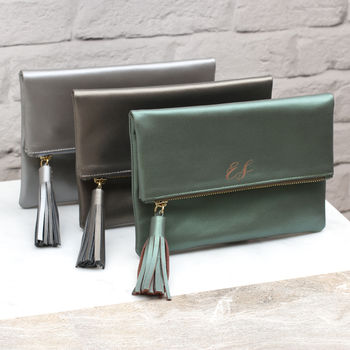 Personalised Luxury Italian Leather Foldover Clutch Bag