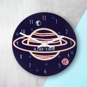 Personalised 'Planet' Wall Clock - bedroom