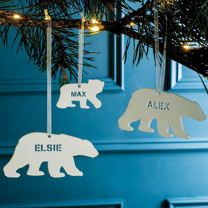 Personalised Polar Bear Christmas Decoration - personalised gifts